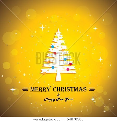 Merry Christmas Greeting Card Poster & Xmas Tree - Concept Vector.