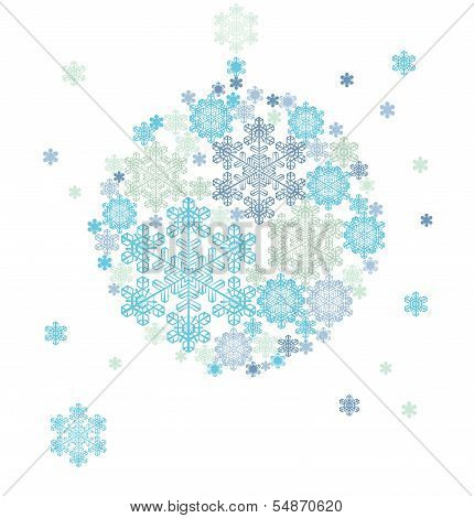 stylized silhouette of hanging ball  formed by snowflakes