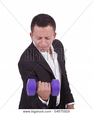 Mixed race businessman with dumbbell