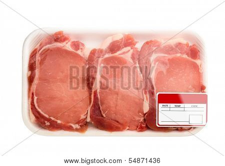Fresh red meat packed in a poly bag. Isolated over white.