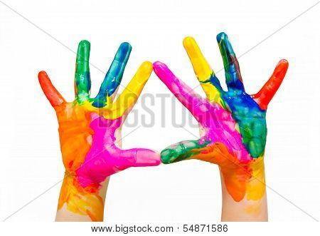 Painted Child Hands Colorful Fun Isolated