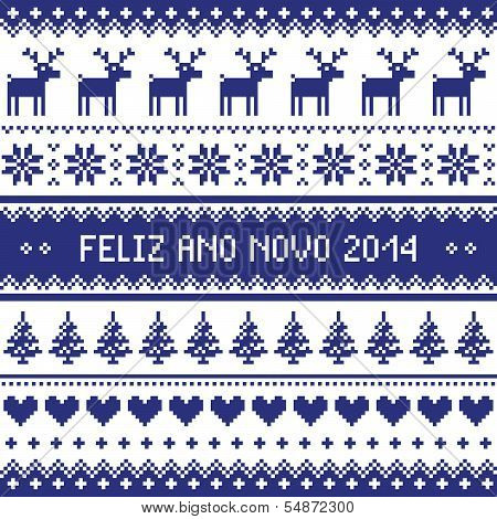 Feliz Ano Novo 2014 - protuguese happy new year pattern