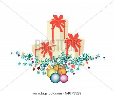 Gift Boxes On Fir Twigs And Christmas Balls