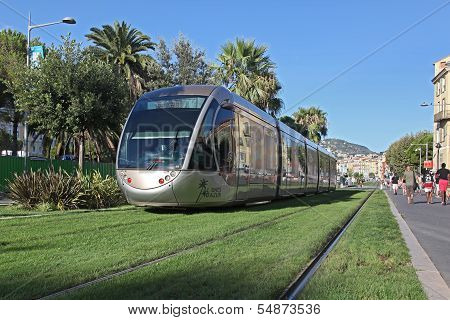 NICE FRANCE - AUGUST 25: Tram on the grass on August 25 2013 in Nice, France