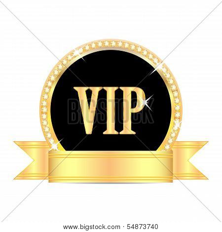 Medal With The Word Vip And Golden Ribbon Isolated On White Background.insignia In Gold With Brillia