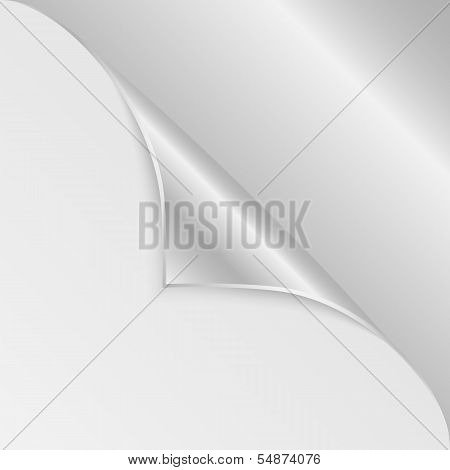 Bblank Sheet Of Paper With The Curved  Silver Corner.clean Sheet For Posting Information.vector
