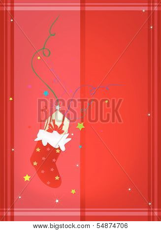 Red Background Of Gift Boxes In Christmas Stocking