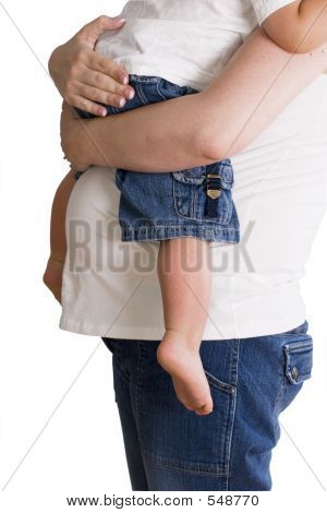Expecting Mother  Holding Child Isolated On White