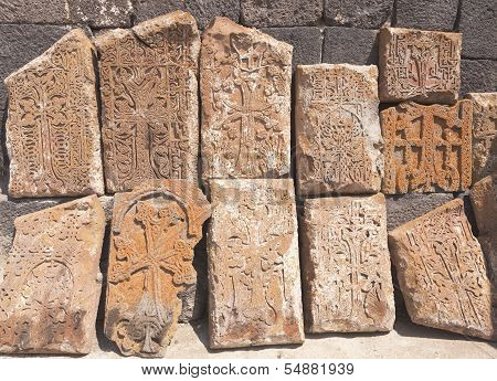 Armenian medieval cross stones on the peninsula Sevan