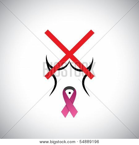 Cross Sign On Woman's Body - Concept Vector Against Breast Cancer