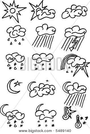 Full Page Of Fun Hand-drawn Doodles On A Weather Theme