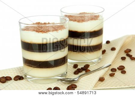 Tasty jelly coffee with milk on table on white background