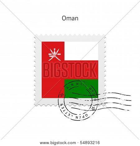 Oman Flag Postage Stamp.