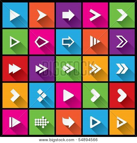 Arrow sign icon set. Simple square shape buttons