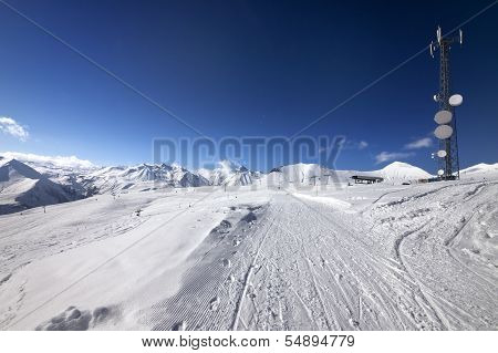 Ratrac Ski Road At Nice Sun Day