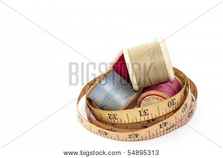 Vintage Wooden Reels Of Cotton And Tape Measure