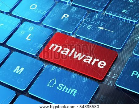 Security concept: Malware on computer keyboard background