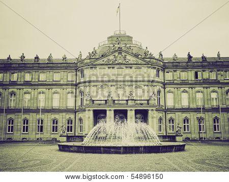 Vintage Sepia Neues Schloss (new Castle), Stuttgart