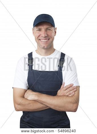 Portrait Of Smiling Worker In Blue Uniform Isolated On White Background