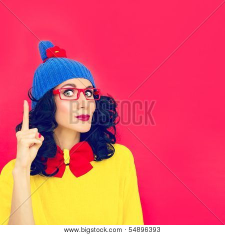 funny girl with index finger