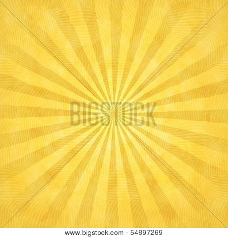 Yellow Watercolor Background With Rays