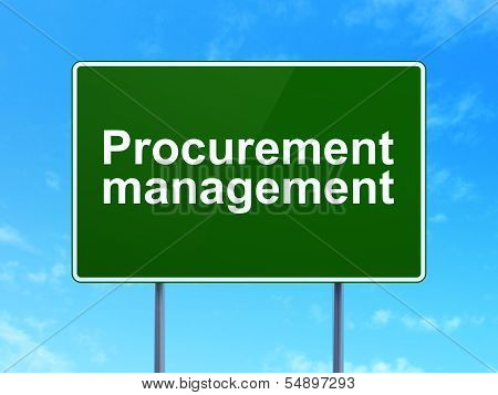 Business concept: Procurement Management on road sign background