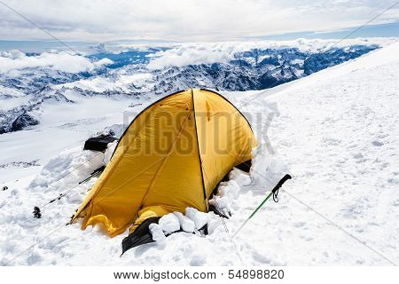 Camping In Caucasus Mountains On Elbrus Landscape