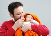 picture of muslim kids  - Happy father with newborn baby - JPG