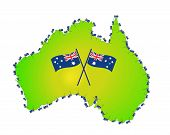 Country Flag Australia With Map