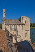 stock photo of saint-nicolas  - Chapel of Saint-Benezet and Chapel of Saint-Nicolas on the Saint-Benezet bridge (circa XII c.). UNESCO World Heritage Site. Avignon France