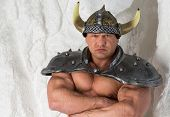 stock photo of cold-war  - A muscular man in costume viking with armor - JPG