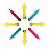 image of interrupter  - Set of fresh color arrows situated in the circle - JPG