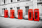 foto of phone-booth  - The five red phone boxes in London - JPG