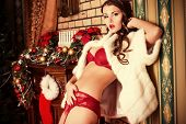 foto of sexuality  - Beautiful young woman in in sexual red lingerie posing in Christmas decorations - JPG