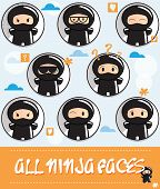 picture of ninja  - Collection of cartoon ninjas with different faces - JPG