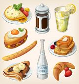 stock photo of french toast  - Set of traditional french breakfast elements and dishes - JPG