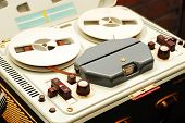stock photo of magnetic tape  - vintage reel to reel magnetic tape recorder - JPG