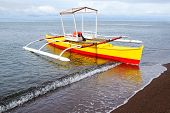 stock photo of camiguin  - Picturesque seascape with bangka - JPG