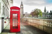 stock photo of british culture  - Big ben and red phone cabine in London - JPG