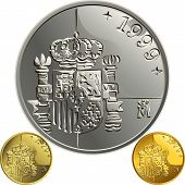 picture of spanish money  - Spanish money peseta gold and silver coin with the Spanish coat of arms - JPG