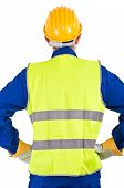 stock photo of blue-collar-worker  - Image of a young blue collar worker - JPG