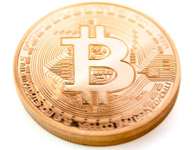 stock photo of bit coin  - frontside of a bitcoin coin  - JPG