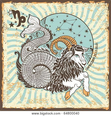 Capricorn Zodiac Sign.vintage Horoscope Card