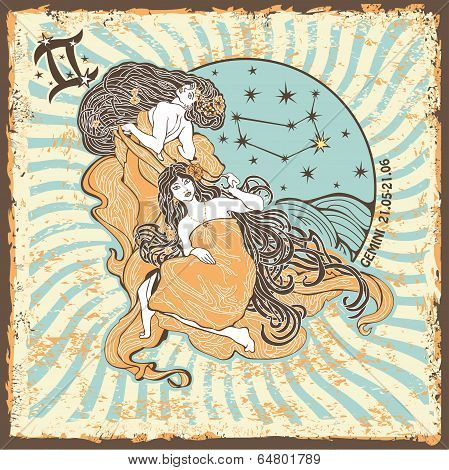 Gemini Womans Zodiac Sign.vintage Horoscope Card