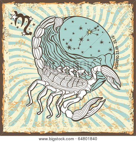 Scorpio Zodiac Sign.vintage Horoscope Card