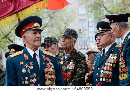 Old veterans come to celebrate Victory Day at Alley of Glory,Odessa,Ukraine