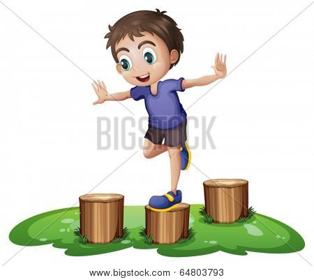 Illustration of a young boy above the stump on a white background