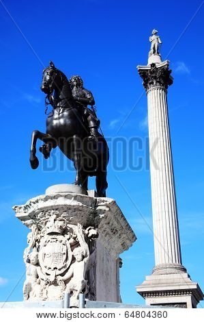 Charles I statue and Nelson's Column