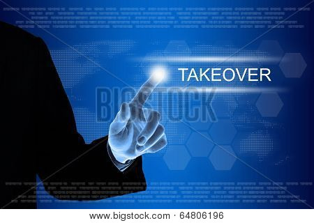 Business Hand Clicking Takeover Button On Touch Screen