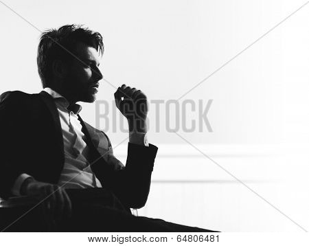 Handsome man silhouette poster